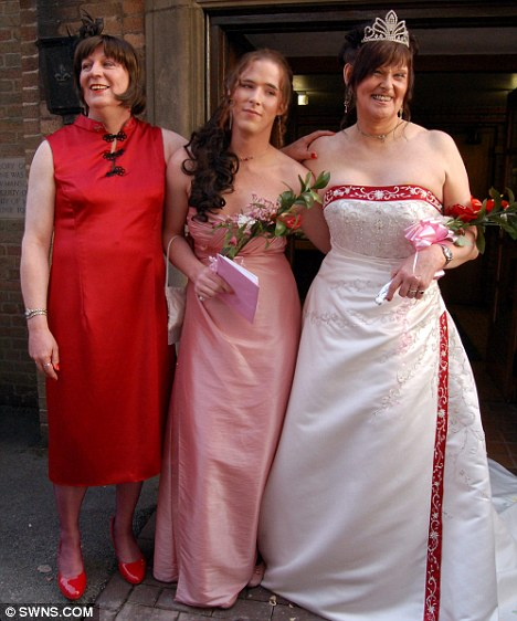 Just married: Jenny-Anne (right) and Elen (left) pose with their