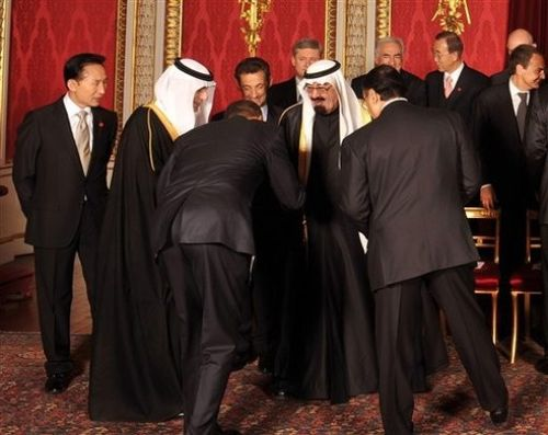 Obama-bowing to Saudi King
