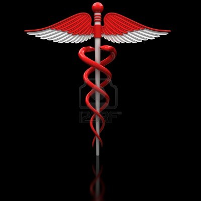 Red-medical-caduceus-symbol-on-a-black-glossy-surface