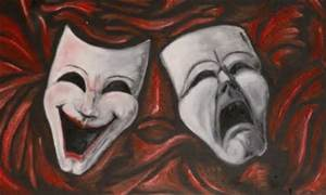 Red Comedy Tragedy Mask 2